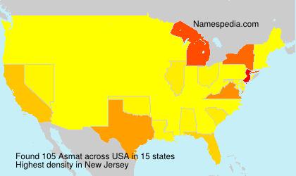 Familiennamen Asmat - USA