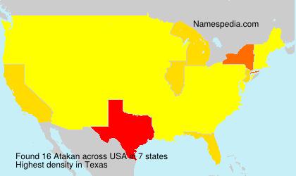 Familiennamen Atakan - USA