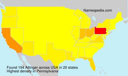 Surname Attinger in USA