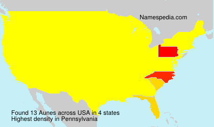 Surname Aunes in USA
