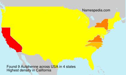 Surname Autphenne in USA