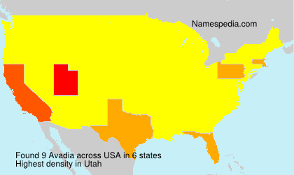 Familiennamen Avadia - USA