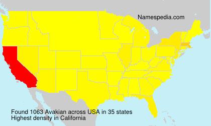 Familiennamen Avakian - USA
