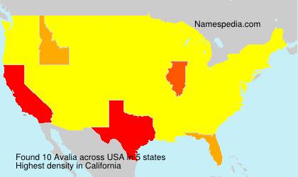 Familiennamen Avalia - USA