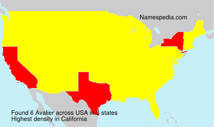 Familiennamen Avalier - USA