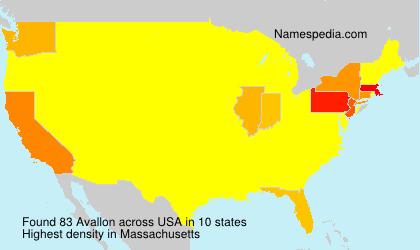 Familiennamen Avallon - USA