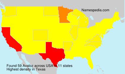Familiennamen Avaloz - USA