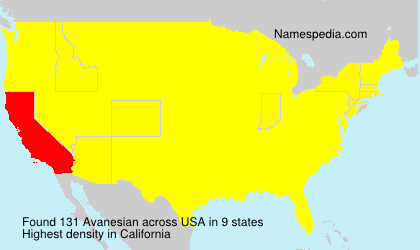 Familiennamen Avanesian - USA