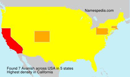 Familiennamen Avanish - USA