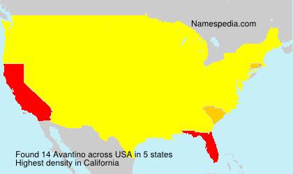 Familiennamen Avantino - USA