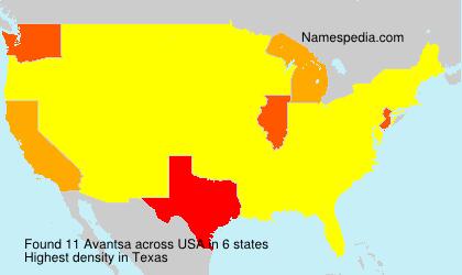 Familiennamen Avantsa - USA