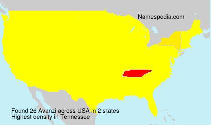 Familiennamen Avanzi - USA