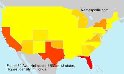 Surname Avanzini in USA