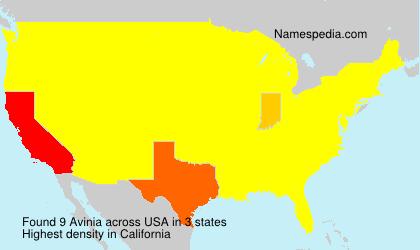 Familiennamen Avinia - USA