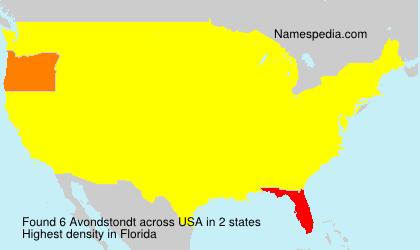 Familiennamen Avondstondt - USA