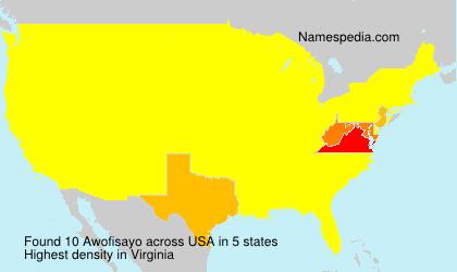 Surname Awofisayo in USA