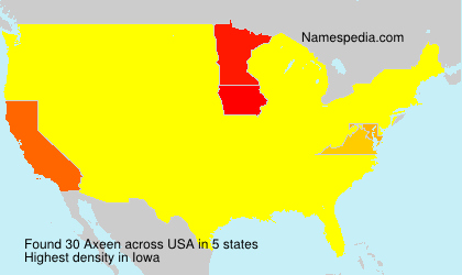 Surname Axeen in USA