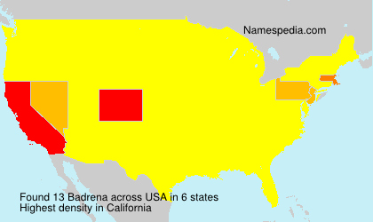 Surname Badrena in USA