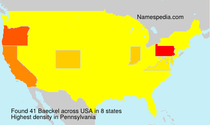 Surname Baeckel in USA