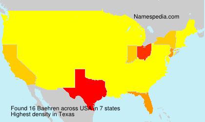 Surname Baehren in USA