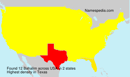Surname Bahalim in USA