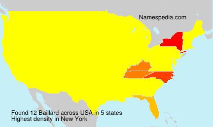 Surname Baillard in USA