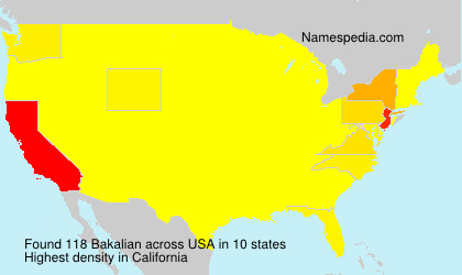 Surname Bakalian in USA