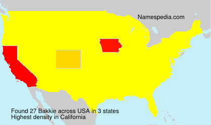 Surname Bakkie in USA
