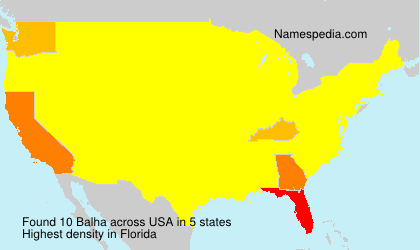 Surname Balha in USA