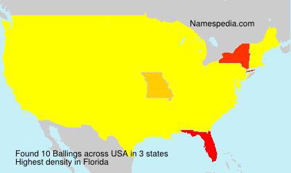 Familiennamen Ballings - USA