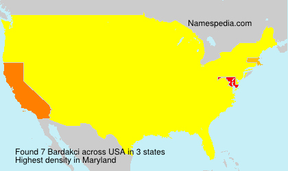 Familiennamen Bardakci - USA