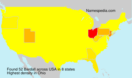 Surname Bardall in USA