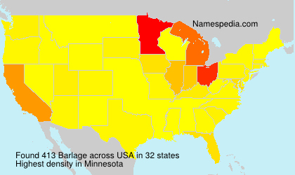 Surname Barlage in USA
