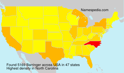 Surname Barringer in USA