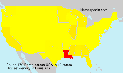 Surname Barze in USA