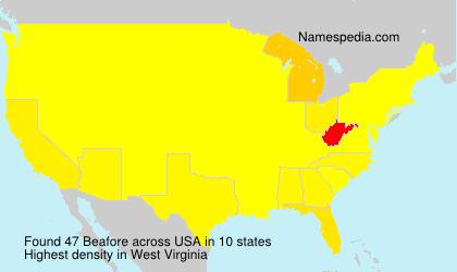 Familiennamen Beafore - USA