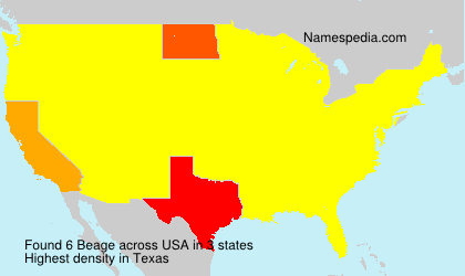 Surname Beage in USA