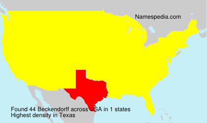 Surname Beckendorff in USA
