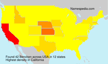 Surname Bencken in USA