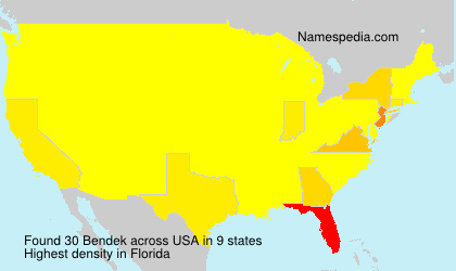 Surname Bendek in USA