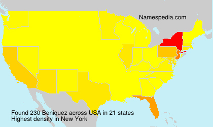 Surname Beniquez in USA