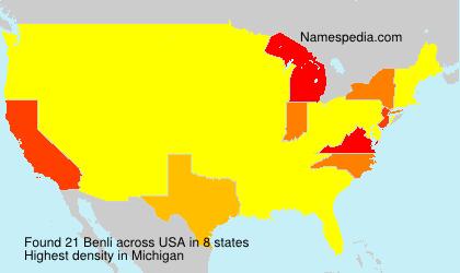 Surname Benli in USA