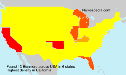 Surname Benmore in USA