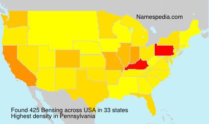 Familiennamen Bensing - USA