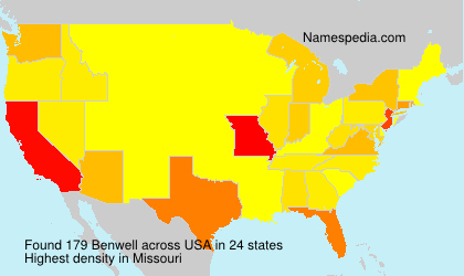 Familiennamen Benwell - USA
