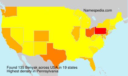 Familiennamen Benyak - USA