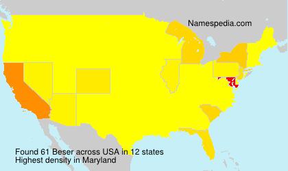 Familiennamen Beser - USA