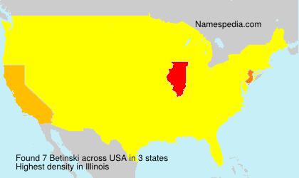Surname Betinski in USA