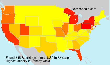 Surname Betteridge in USA