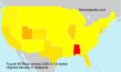 Familiennamen Beuk - USA